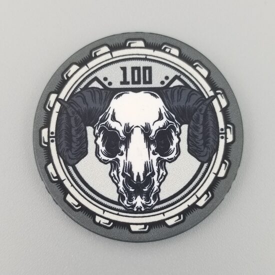 $100 Poker Chip the Aftermath theme by Crow's Head Poker in black