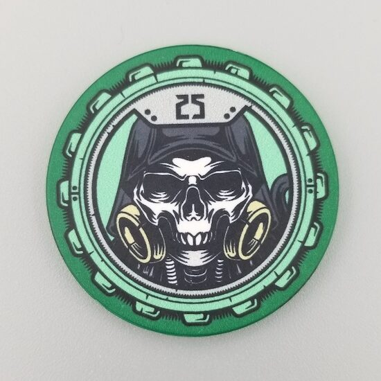 $25 Poker Chip the Aftermath theme by Crow's Head Poker in green