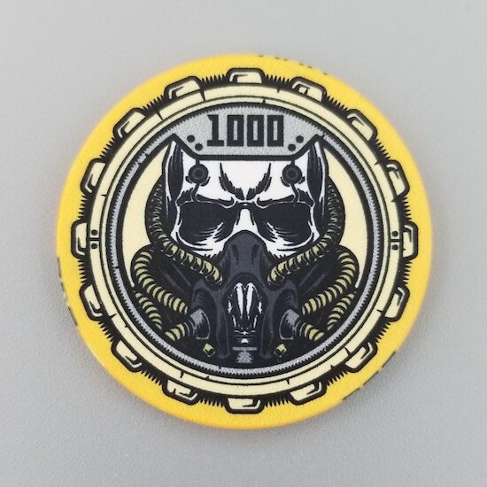 $1000 Poker Chip the Aftermath theme by Crow's Head Poker in yellow