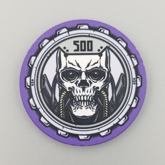 $500 Poker Chip the Aftermath theme by Crow's Head Poker in purle