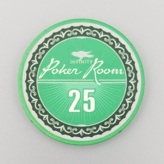 $25 Poker Chip - the Infinity Poker Room by Crow's Head Poker in green
