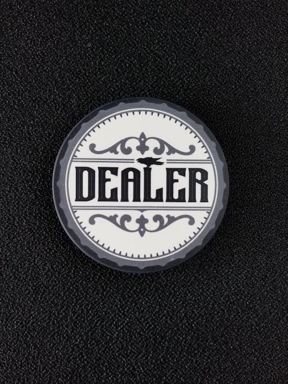 Old West Dealer Button showing white side
